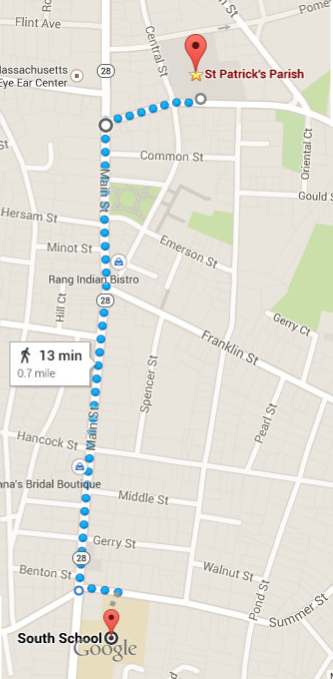 We will be walking from the big parking lot behind Saint Patrick Church to the South School parking lot and back!